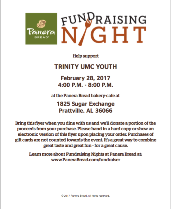 Trinity Youth Fundraising Night at Panera