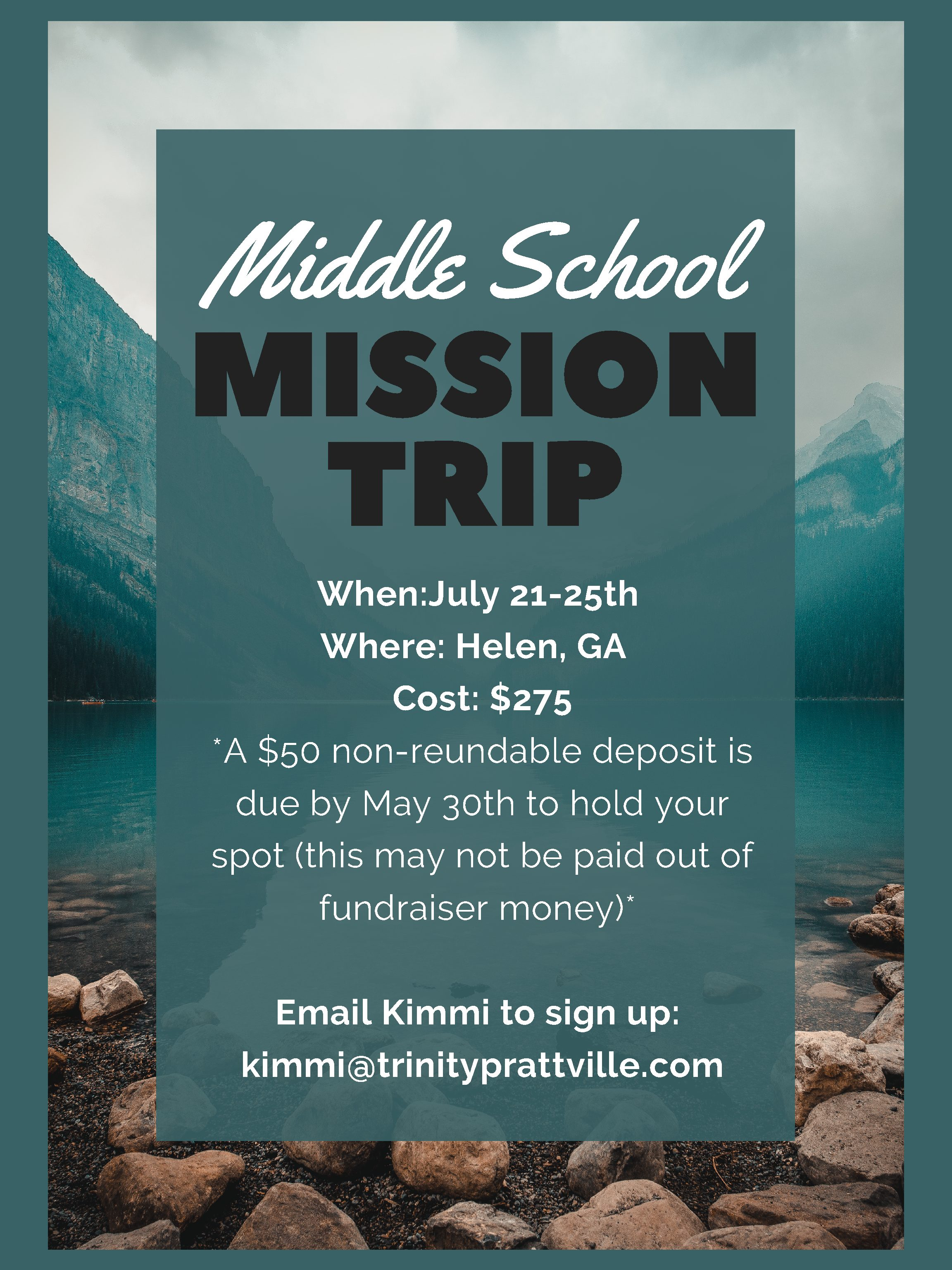 Middle School Mission Trip