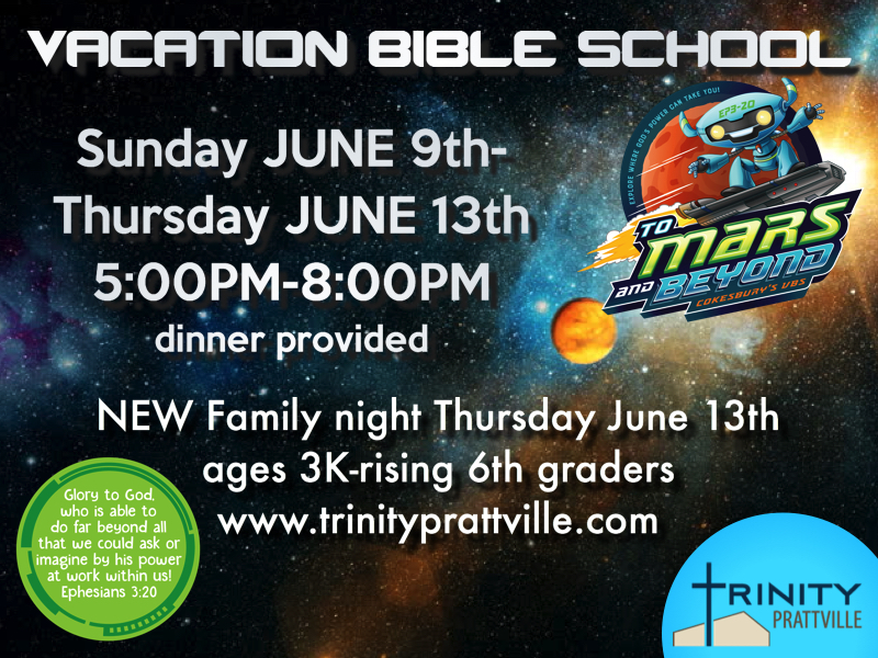 Vacation Bible School, June 9th-13th, 5-8pm